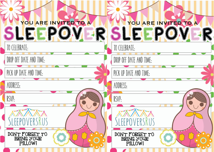 babushka Slumber Party invitations