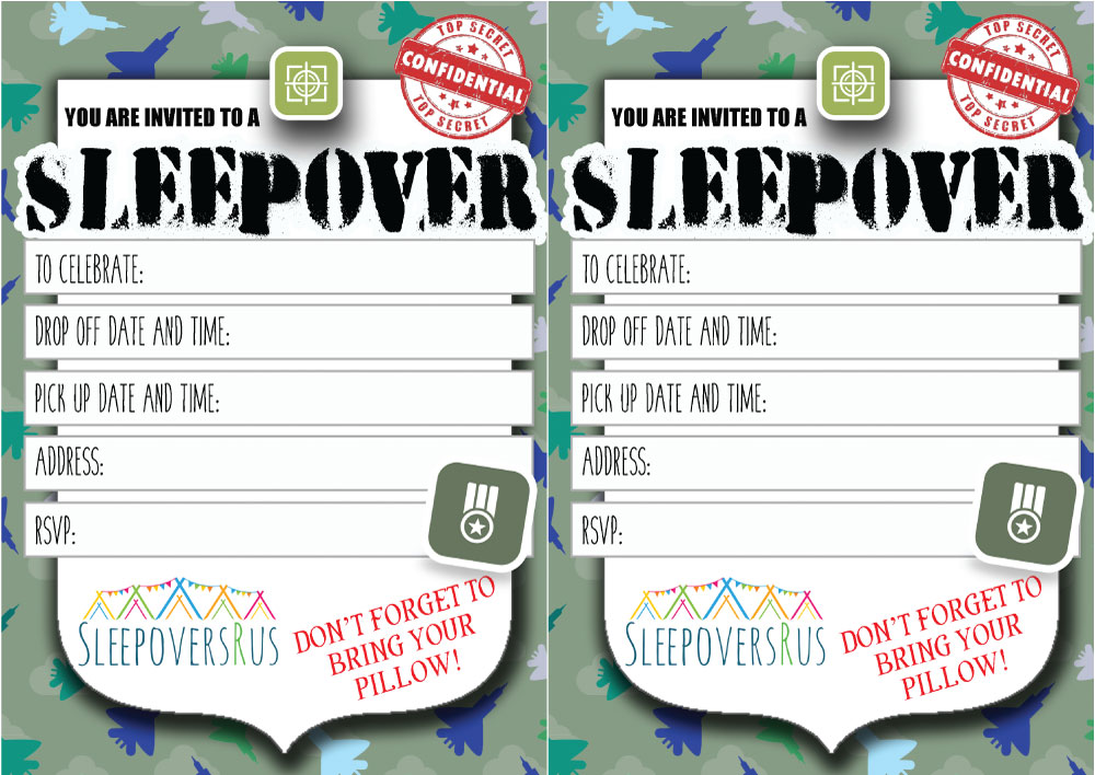 bootcamp Slumber Party invitations