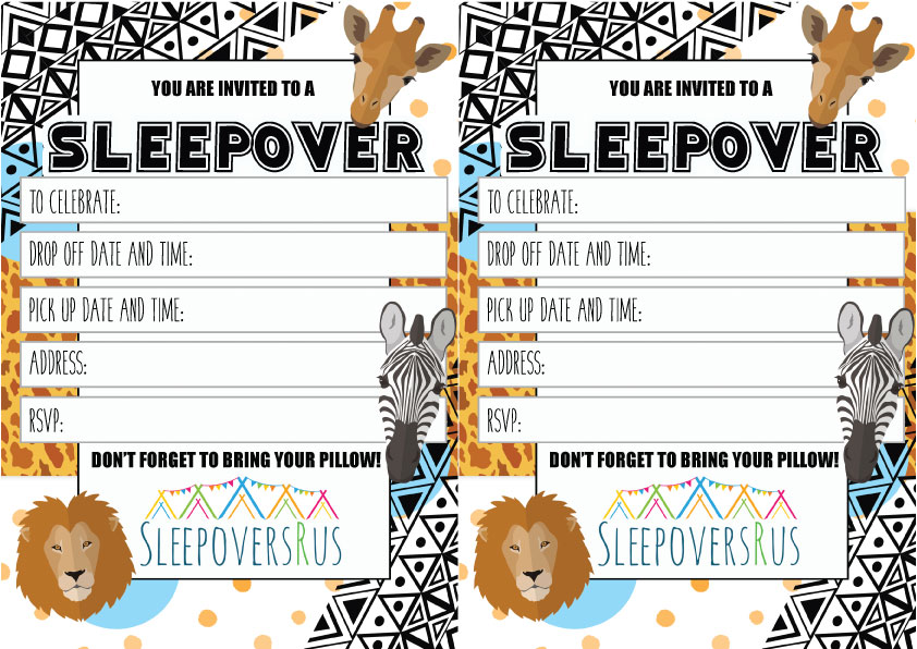 savannah Slumber Party invitations