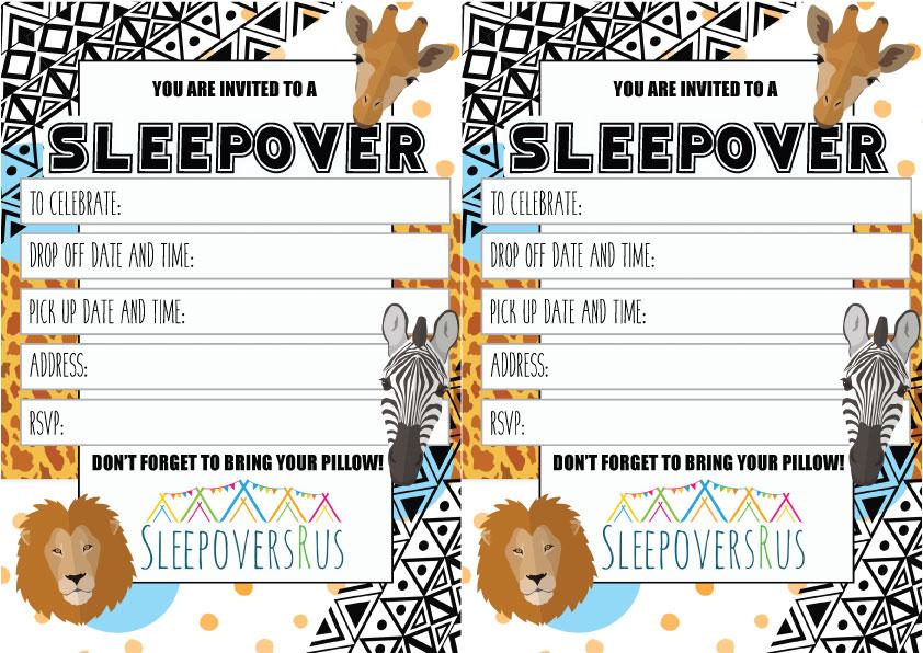 savannah Slumber Party invitations
