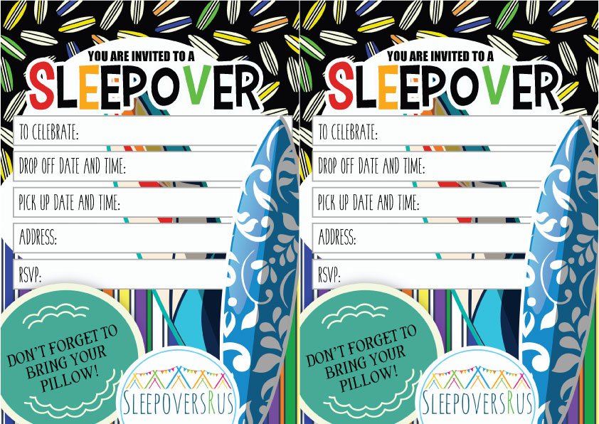 surfs_up Slumber Party invitations