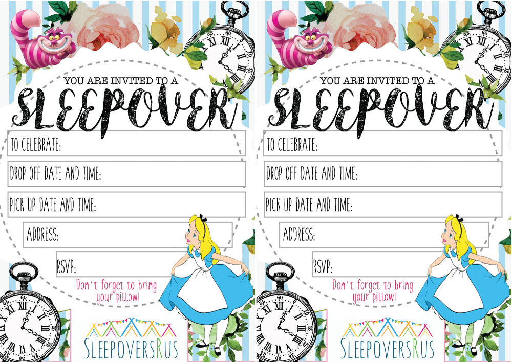 wonderland_whispers Slumber Party invitations