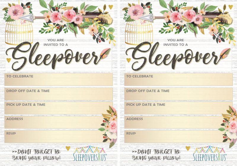 Slumber Party Invites and Breakfast Menus